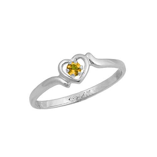4 1/2 Girls 14K White Gold Genuine Citrine November Birthstone Heart Ring