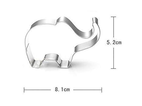 OVVO Edelstahl-Elefant-Plätzchen-Backform-Kuchen, der Fondant verziert Formen Kuchen Dekorieren Tools (Farbe : Silver, Größe : 8.1 * 5.2cm)