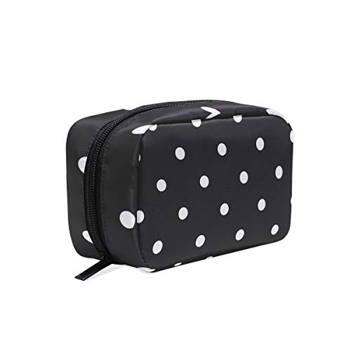 Toiletry Bag Black & White Polka Dot Womens Beauty for sale  Delivered anywhere in USA