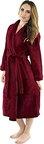 NY Threads Womens Fleece Bathrobe - Shawl Collar Soft Plush Robe Spa Robe