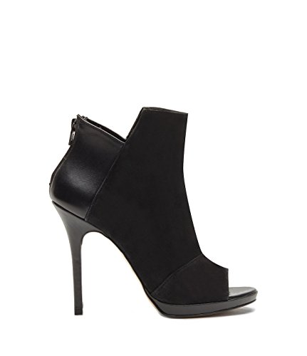 PoiLei Women's Shoes Peep Toes Ankle Boots Victoria Leather Black -Made in Italy- 9szMKEtd