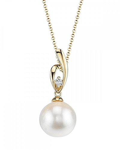 14K Gold White Freshwater Pearl & Diamond Lois Pendant - AAAA Quality