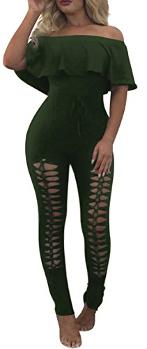 PRETTYGARDEN Off Shoulder Sleeve Hollow Out Sexy Women Bodycon Long Jumpsuit Rompers (X_Large, Off Shoulder Arm Green) ()