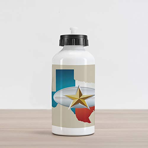 Ambesonne Texas Star Aluminum Water Bottle, Cowboy Belt Buckle Star Design with Texas Map Southwestern Parts of America, Aluminum Insulated Spill-Proof Travel Sports Water Bottle, Multicolor