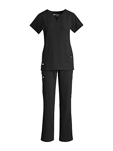 Grey's Anatomy Notch Neck Top Bundle with Cargo Pant Medical Scrub Set for Women