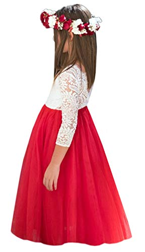 (2Bunnies Girl Peony Lace Back A-Line Straight Tutu Tulle Party Flower Girl Dresses (Red Maxi, 5))