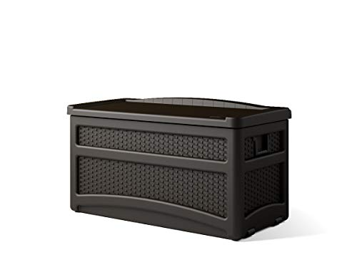 Suncast 73 Gallon Resin Wicker Patio Storage Box with Wheels and Seat - Water Resistant Outdoor Storage Container for Furniture and Yard Tools - Store Items on Deck, Porch, Yard - Mocha