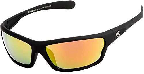 Nitrogen Men's Rectangular Sports Wrap 65mm Polarized Sunglasses (Black Matte Rubberized, Lava Red Mirror)