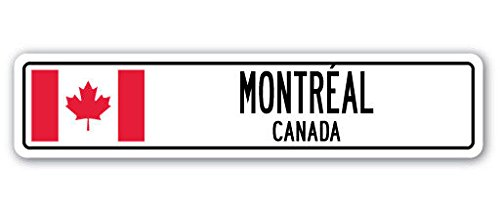 - MONTREAL, CANADA Street Sign Decal Canadian flag city country road wall gift 8