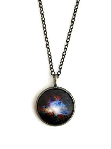 Yugen Galaxy Space Pendant Orion Dark Nebula - Antique Silver or Bronze (Antique Silver)