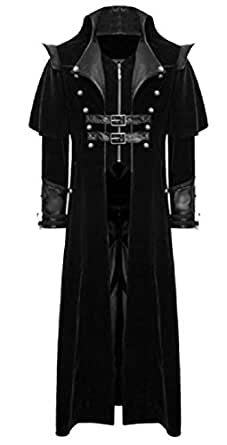 XINHEO Men's Medieval Long Maxi Windbreaker Embellished Duster Coat Black 2XL