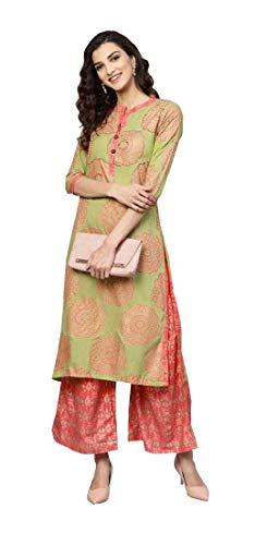 - Women Rayon Printed Straight Kurta with Palazzos (Small-34, Green)