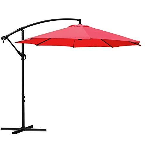 Sunnyglade 10′ Outdoor Adjustable Offset Cantilever Hanging Patio Umbrella (Red)