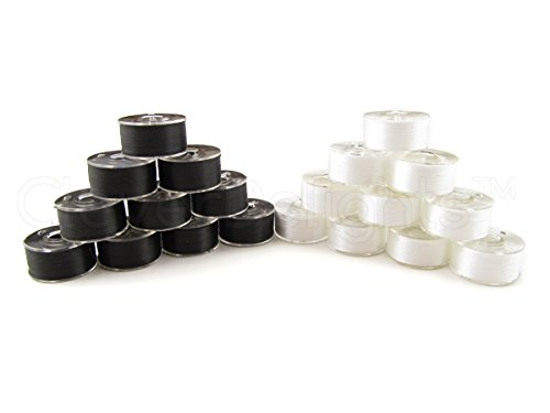 36 Pack - CleverDelights Black and White Prewound Bobbins - 60wt - Size A Class 15 Bobbins - SA156 Replacement - For Brother Embroidery Machines - 7/16