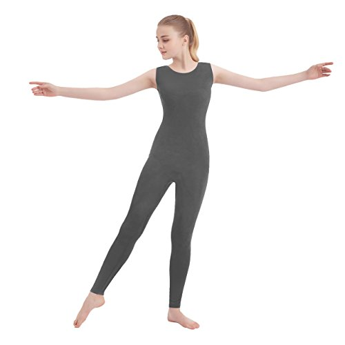 Unisex Scoop Neck Tank Top Lycra Spandex Sleeveless Unitard (X-Large, Gray)