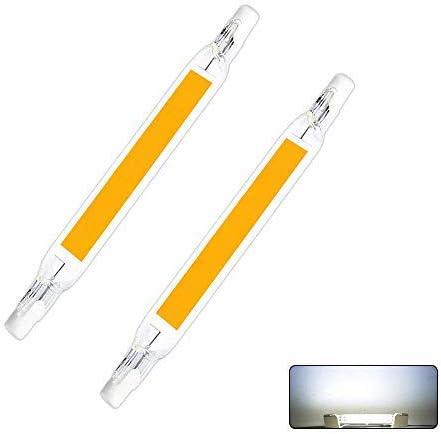 AEUWIER 2 piezas de bombillas LED R7S, 15W / 118mm 230V Lámpara blanca halógena de 6000K fría, LED COB de doble extremo R7S 118 Luz lineal de reflector de base Ángulo de haz de 360 ° No regulable