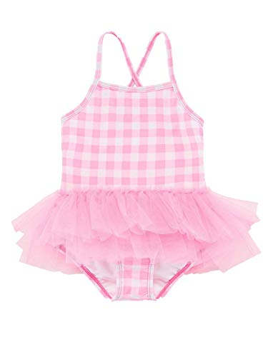 Okie Dokie Toddler Girls One Piece Pink & White Plaid Tutu Ruffled Swim Suit