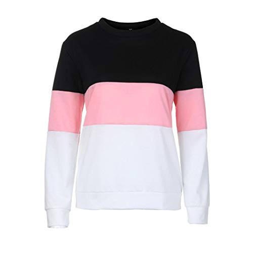 Teens Girls Crop Top,Women's Long Sleeve Cut Sew Pullover Stripe Hoodie Print Sweatshirt Blouse (Pink, US:10) by Kinrui Women's Hoodies & Sweatshirts