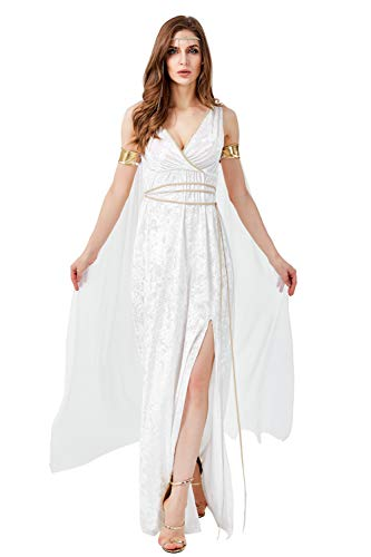 H&ZY Women Halloween Ancient Greek Goddess White Dress Mythology Long Polyester Dresses]()