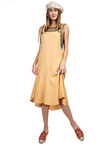 Anna-Kaci Women's Button Strap Overall Jumper Pinafore Peplum Hem Midi Dress,Mango,Small (Dress Anna Cotton)