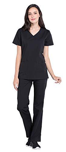 (Cherokee Workwear Professionals Women's Mock Wrap Scrub Top WW655 & Women's Drawstring Scrub Pants WW160 Medical Uniforms Scrub Set (Black - XX-Large/XXL Tall))