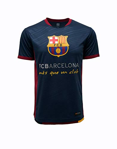FC BARCELONA Official Merchandise by HKY Sportswear Men's Short Sleeve Contrast Inserts Jersey (Navy, Medium)
