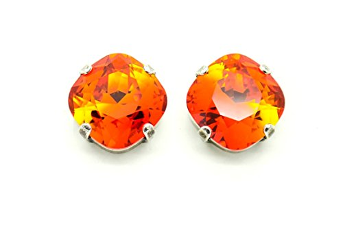 FIRE OPAL 12MM Cushion Cut Stud or Post Earrings Made With Discontinued Swarovski Elements *Pick Your Finish