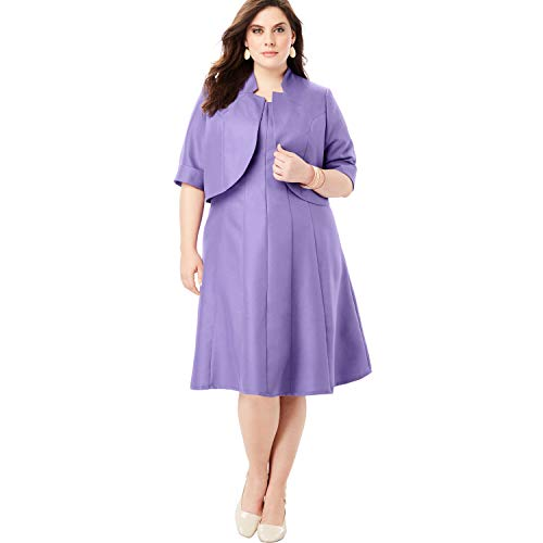 - Roamans Women's Plus Size Fit-and-Flare Jacket Dress - Purple Lily, 18 W