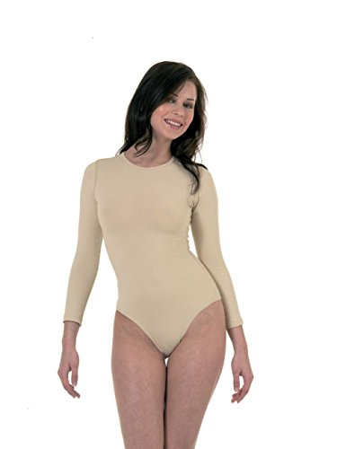 manches pleine couleur beige les combinaisons de viscose de qualité dames(ref:ladies tan viscose bodysuits)
