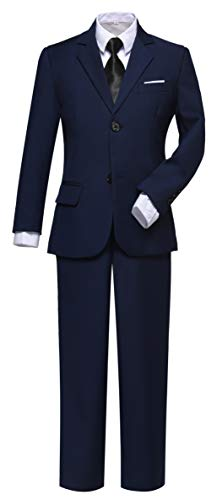 Visaccy Ring Bearer Outfit for Boys First Communion Navy Suits Size 8 ()