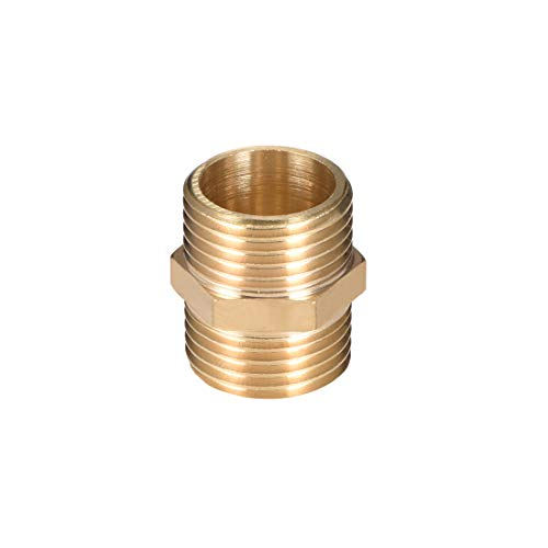 (uxcell Brass Male to Male Straight Pipe Hex Nipple Fitting G 1/2 x G 1/2 Male Thread Connector )