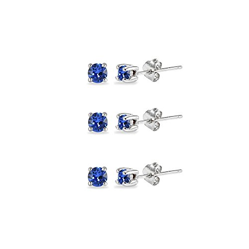 3-Pair Set Sterling Silver Nice Blue 3mm Round Stud Earrings Made with Swarovski Crystals (Earring 3 Birthstone Mm)