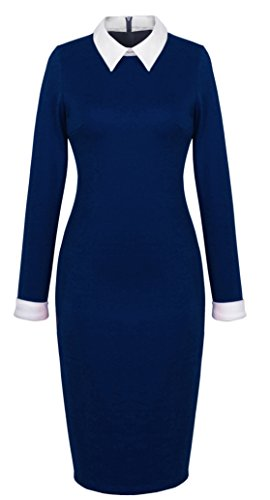 - HOMEYEE Women's Celebrity Turn Down Collar Business Bodycon Dresses (XL, Dark Blue)