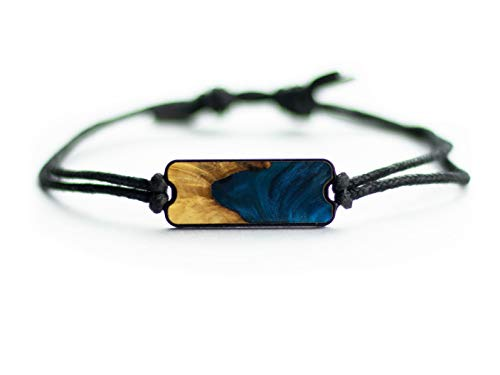 Carved Burl Wood + Resin Bracelet Dark Blue
