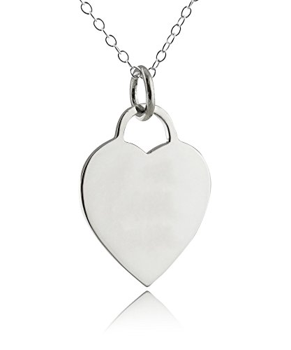 - Sterling Silver Engravable Blank Heart Shaped Pendant Necklace, 18