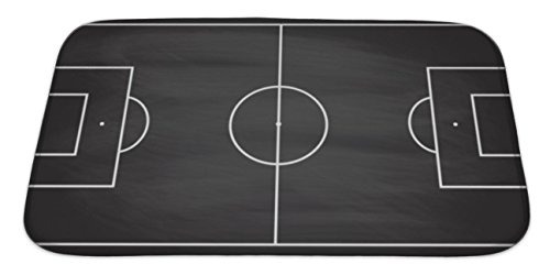 Gear New Bath Mat For Bathroom, Memory Foam Non Slip, Football Or Soccer Game Field Isolated On Blackboard With Chalk Rubbed Sport, 34x21, 5289349GN
