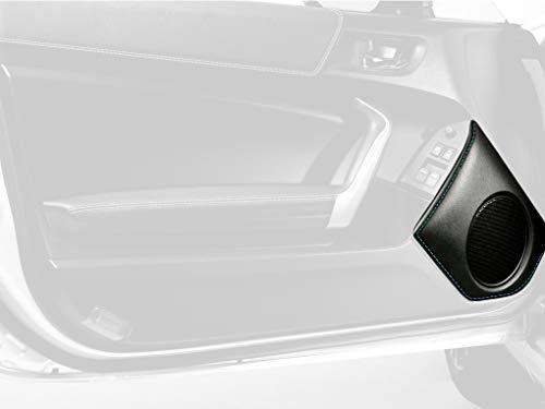 RedlineGoods Door Speaker Bezel Cover Compatible con Toyota GT86 2012-19. Alcantara Negra Costura Plata ()