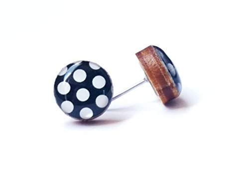 Handmade black and white polka dot print wooden stud earrings 10mm ()
