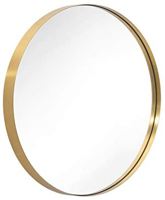 """ANDY STAR 30"""" Gold Round Mirror for Bathroom, Circle Wall Mirror Mounted, Modern Brushed Brass Metal Frame Round Mirror for Wall Decor, Vanity, Living Room, Bedroom"""