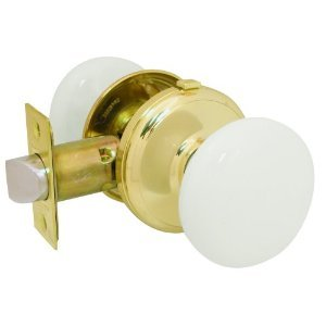 Gainsborough GENUINE PORCELAIN Door Knob Set (LOCKING Bed & Bath, WHITE Porcelain & BRASS) (Porcelain Door Knob Set)