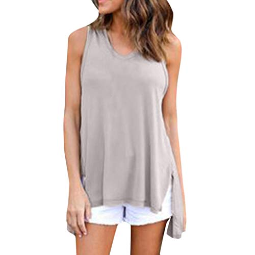 ✔ Hypothesis_X ☎ Women's Casual Short Sleeve Solid Hooded Sleeveless Split Top Blouse V-Neck T-Shirt Tops Gray -