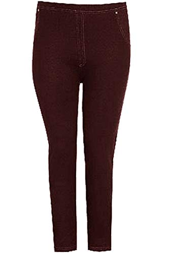 Fashion Star Womens Stretchy Denim Look Jeans Jegging Leggings Trousers Pants Wine