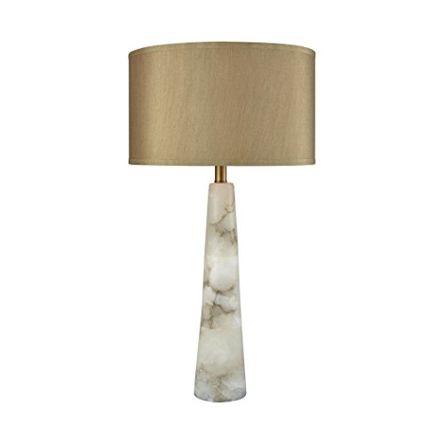 Elk Lighting D3475 Champagne Float Table Lamp Alabaster, Weathered Antique Brass