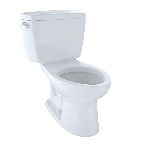(TOTO CST744SG#01 Drake 2-Piece Toilet with Elongated Bowl and Sanagloss,1.6 GPF, Glazed Cotton White)
