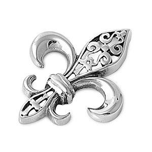 .925 Sterling Silver Large Fleur-de-lis Charm Pendant