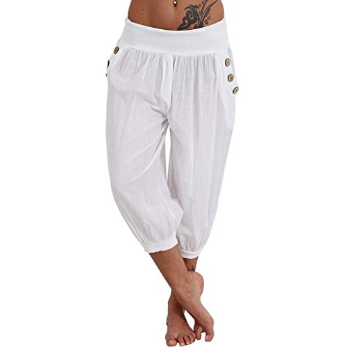 Pervobs Women Pants, Women Summer Elastic Waist Boho Check Pants Baggy Wide Leg Plus Size Yoga Capris Cropped Trousers(2XL, White) ()