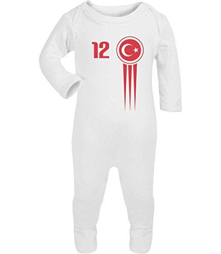 Türkei Türkiye Baby Trikot Euro 2016 Fanshirt Babies Baby Strampler Strampelanzug 6M Weiß