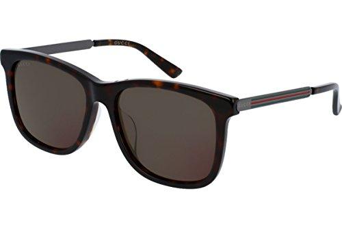 Gucci Men's GG0078SK GG/0078/SK 004 Havana/Ruthenium Fashion Sunglasses - Sunglasses Gucci Made In Italy
