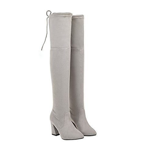 ENMAYER Mujeres Botas de muslo sobre la rodilla Party Wedding Stretch Bloque Botas de tacón medio Gris claro#G33