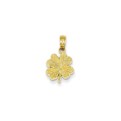 14k Yellow Gold Polished & Textured 4-Leaf Clover Pendant